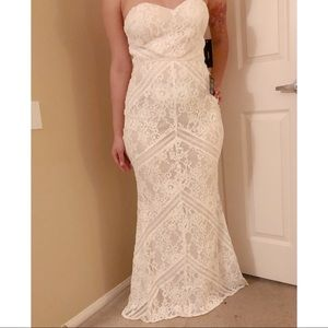 White ivory laces formal dress